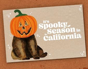 State of California Pumpkin Halloween Card, Jack o Lantern Halloween Invite, Spooky Season Pumpkin Head, Black Bear Happy Halloween Postcard