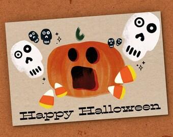 Skull Pumpkin Postcard, Halloween Card, Trick or Treat, Candy Corn, Jack o Lantern Halloween Postcard, Halloween Invite, Spooky Season