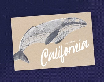 State of California Postcard With Gray Whale Art / Animal Illustration / Whale Illustration / Travel Art / Whale Gift / Ocean Lover Gift
