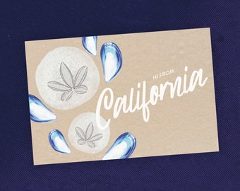 State of California Postcard with Sand Dollar Sea Shell Travel Art / Maritime Art / Ocean Lover Gift / Recycled Paper