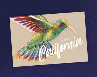 State of California Postcard with Hummingbird Art / Bird Card / Art Postcard / Hummingbird Gift / Recycled Paper / Travel Art