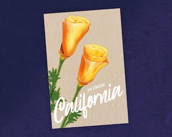 State of California Poppy Art Flower Postcard / California Postcard / Poppy Flower Illustration  / Recycled Paper