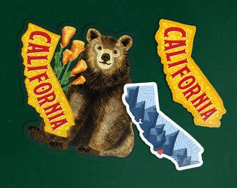 California Sticker Set of 3, California State Sticker Pack, Waterproof Vinyl Die Cut Decal, I love California