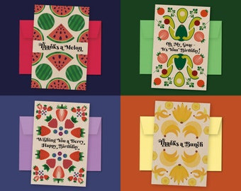 Fruit Greeting Cards 4-Pack: Thank You & Birthday Card + Envelopes