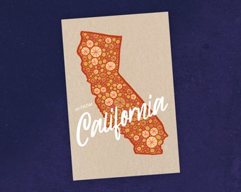 State of California Postcard / California Map Art / California Art / California Republic Map Illustration / Recycled Paper