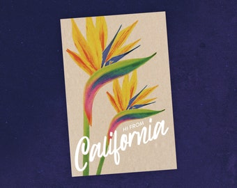 State of California Postcard with Bird of Paradise Tropical Flower Illustration / Travel Art / Flower Postcard / Recycled Paper