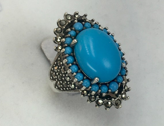 Vintage Sterling Silver 925 Turquoise Color Stone