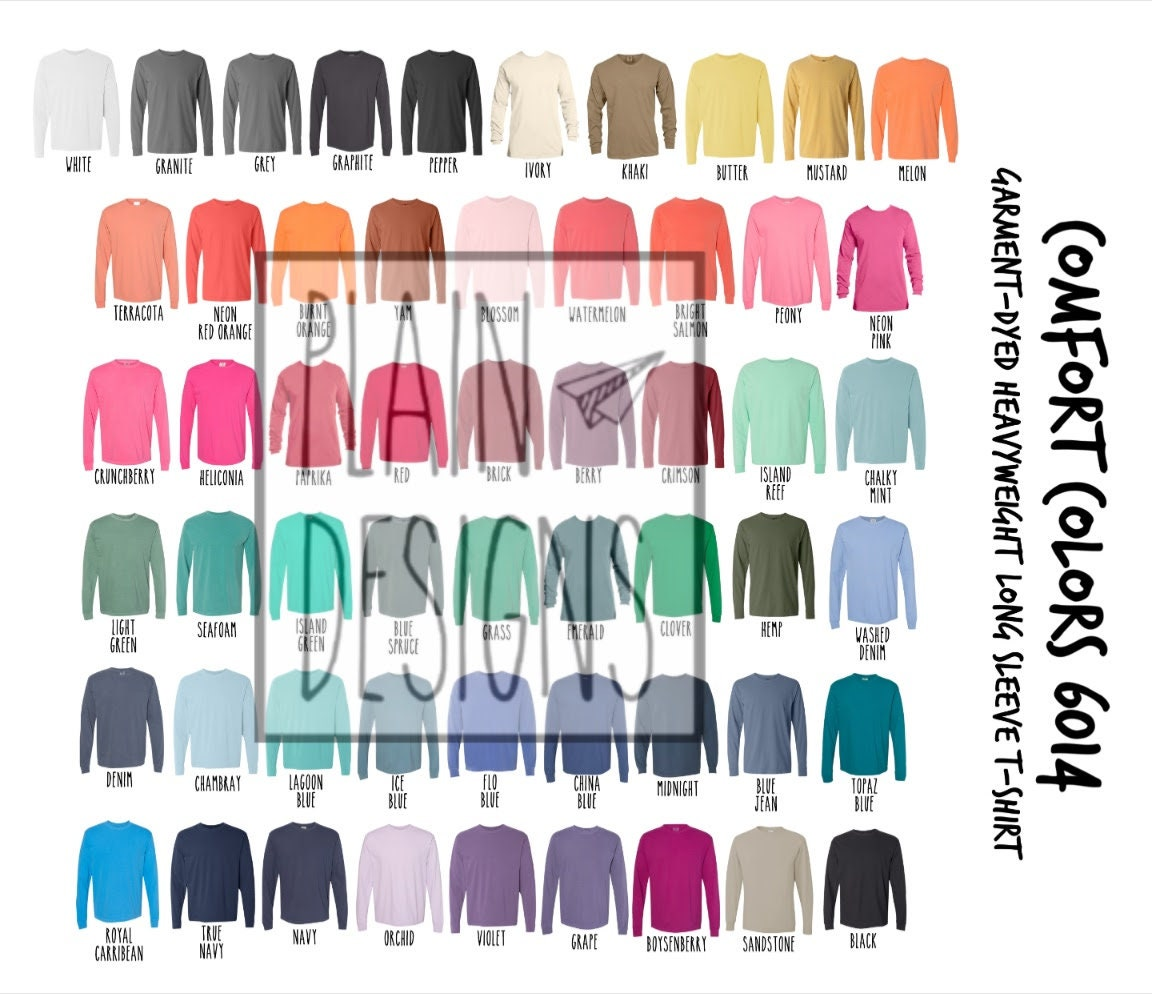 Comfort Colors 20 Color Chart   DIGITAL DOWNLOAD   Comfort Colors Long  Sleeve T Shirt