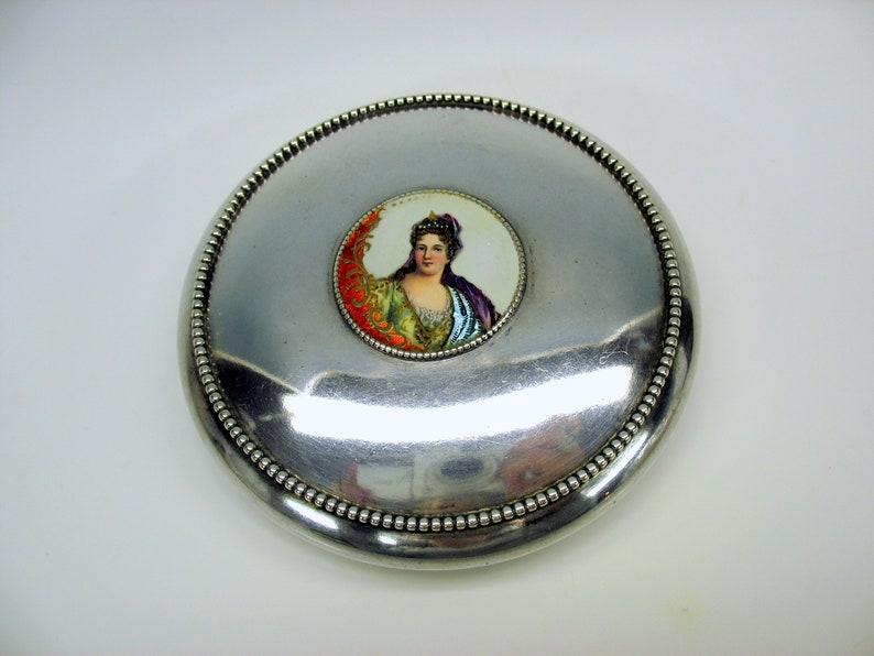 Antique Gorham sterling silver /& cut glass dresser jar box with enamel portrait