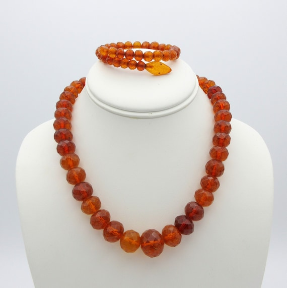 Antique faceted crackle amber necklace with matchi