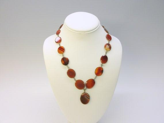 Antique Agate stone necklace with drop pendant