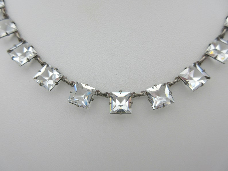 Art Deco sterling silver and square cut crystal necklace with engraved back