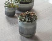 Grey Ceramic Glazed Ombre Plant Pot Size 11.5 x 10.5cm