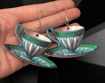 Hypoallergenic Lightweight Vintage Tea Cup Earrings