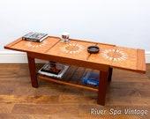 Super Rare Extending Teak Tile Top Vintage Coffee Table, Retro Metamorphic Coffee Table, 1960s Coffee Table, Mid Century Tiled Coffee Table