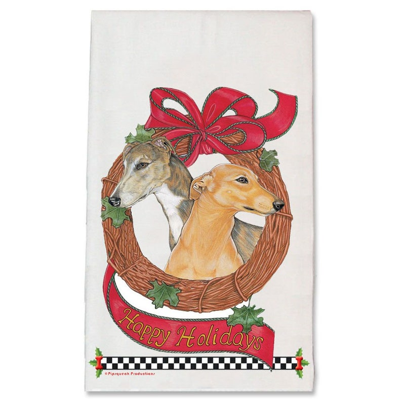 Greyhound Wreath Christmas Kitchen Towel Holiday Pet Gifts