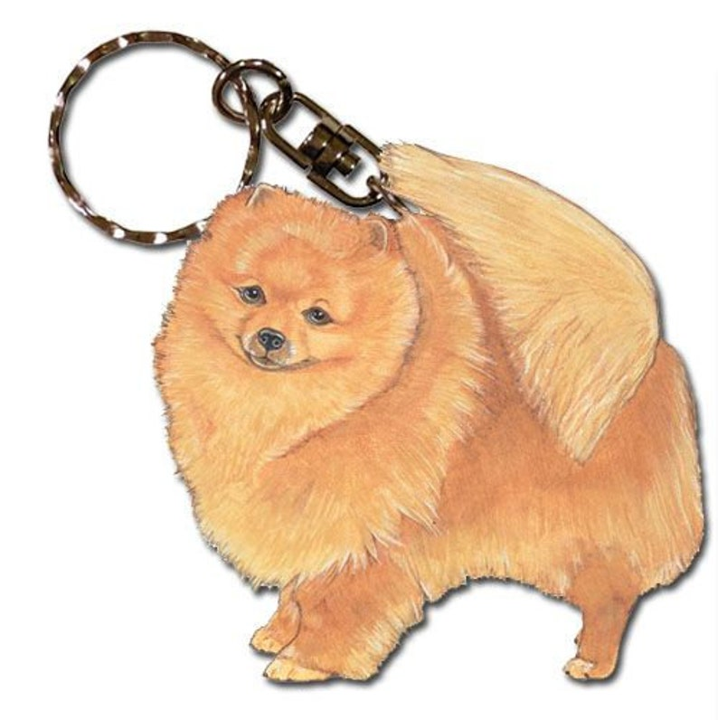 Pomeranian Keychain Wooden