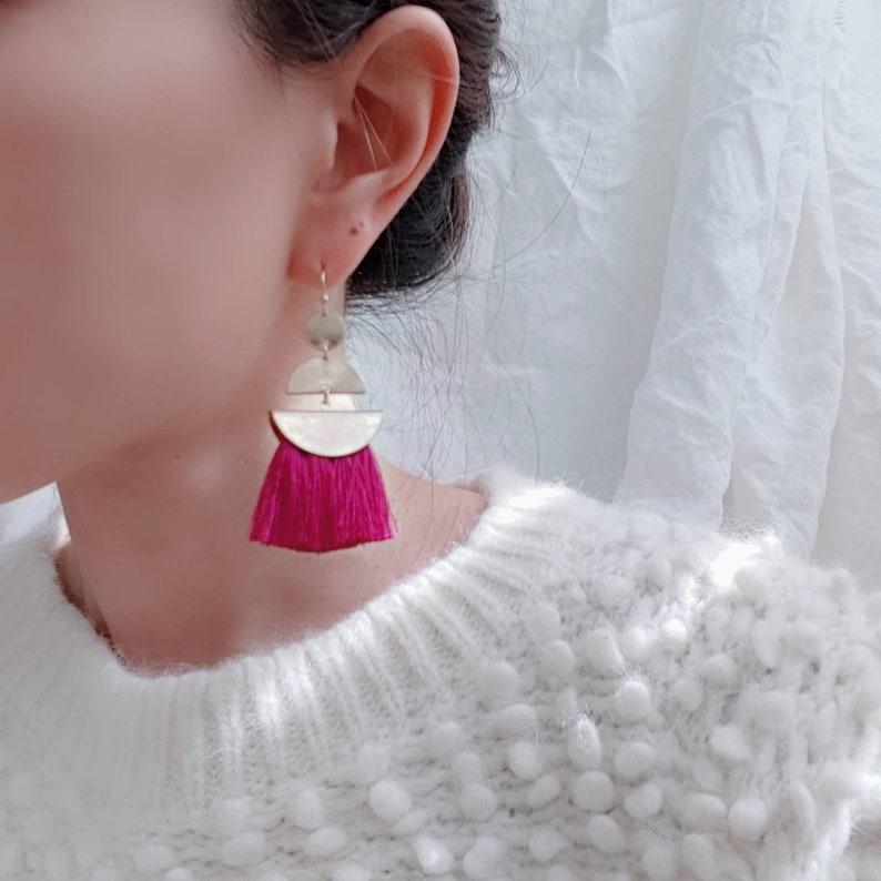 Ethnic tassel earring Boho Hippie Tassel earrings,Geometric dangle earrings,Fringe earrings,Statement earrings,Fan tassel earrings