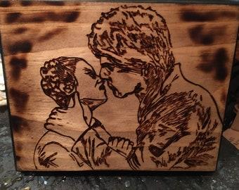 Hans Solo Princess Leia Wood burned kiss scene