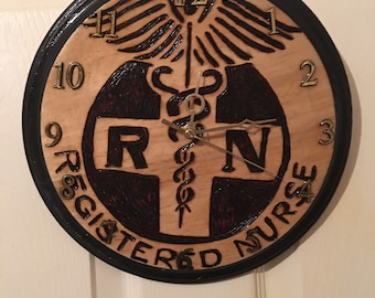 Registered Nurse wood burned clock