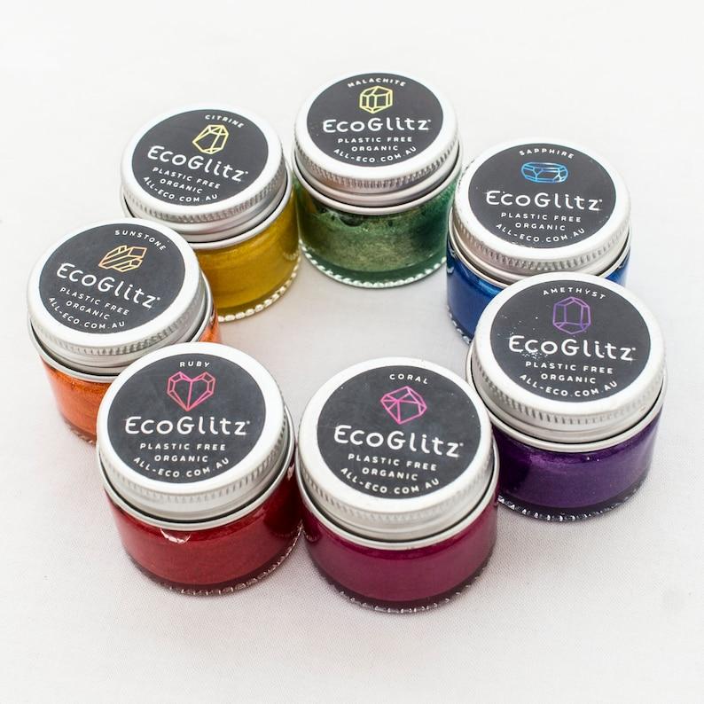 Rainbow glitter  crystals in a certified-organic vegan cream set_of_7