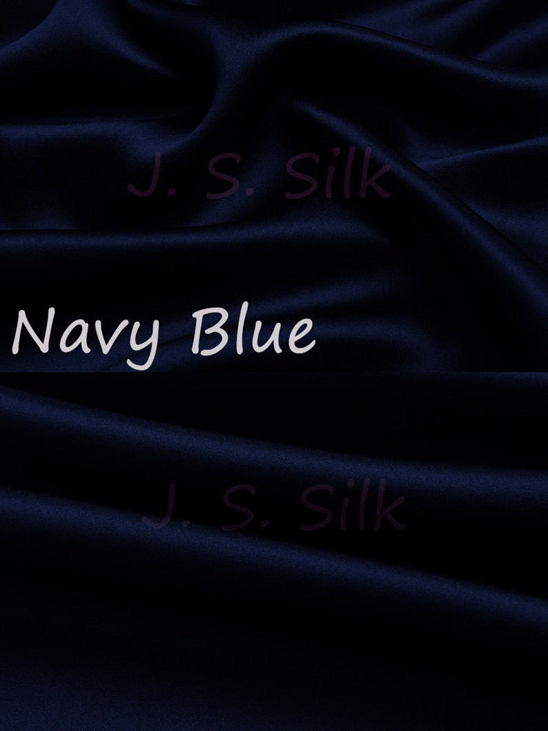 Dress DIY Sewing 100/% Silk Charmeuse Satin Fabric 19momme Solid Color Navy Blue Silk Satin Material for Gown Fkirt By the Yard