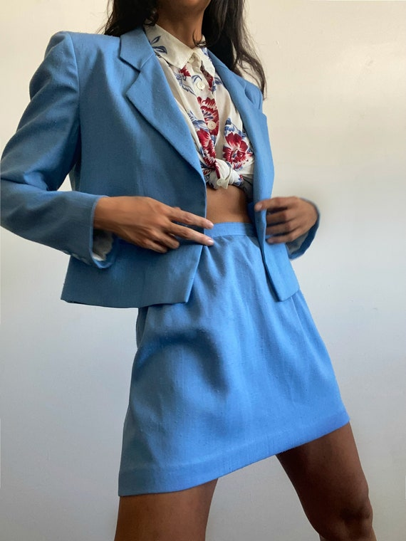 Vintage Reworked 1960s Baby Blue Womens Suit Set.