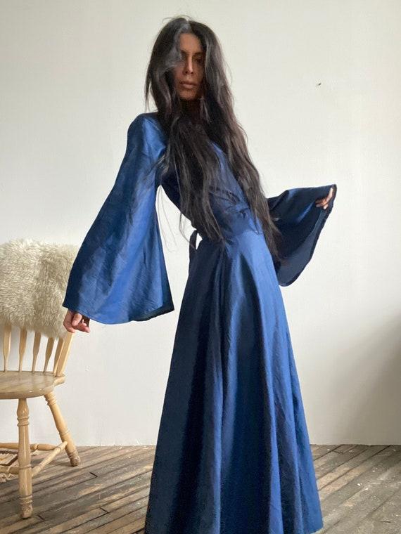 Vintage Boho Denim Maxi Wrap Dress