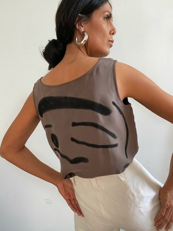 Custom Vintage Hand Painted Silk Sleeveless Blouse - image 4