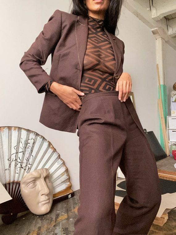 Vintage 90s Brown Linen Suit