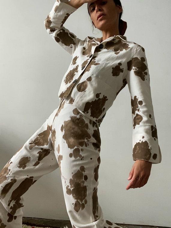 Custom Vintage Cow Print Silk and Linen Suit