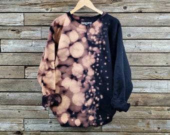 Reverse Tie Dye Sweatshirt   Black Bleach Dye Crewneck   Half Bleached Sweatshirt   Acid Washed   Custom   Cotton Pullover