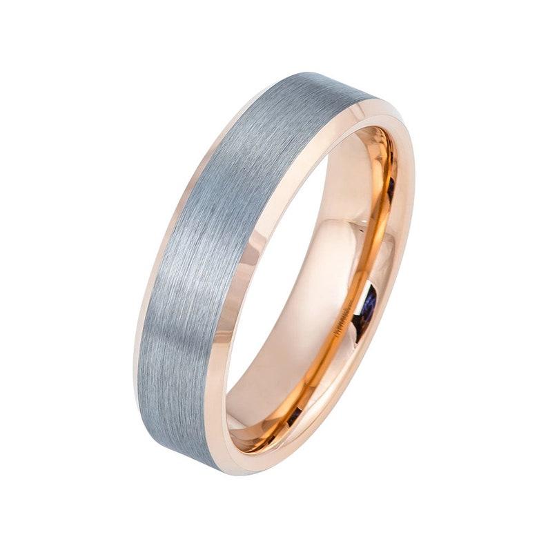 Rose Gold Tungsten Ring Brushed Rose Gold Wedding Band 6mm Tungsten Carbide Mens Wedding Band Engagement Ring Gunmetal Wedding Band Promise