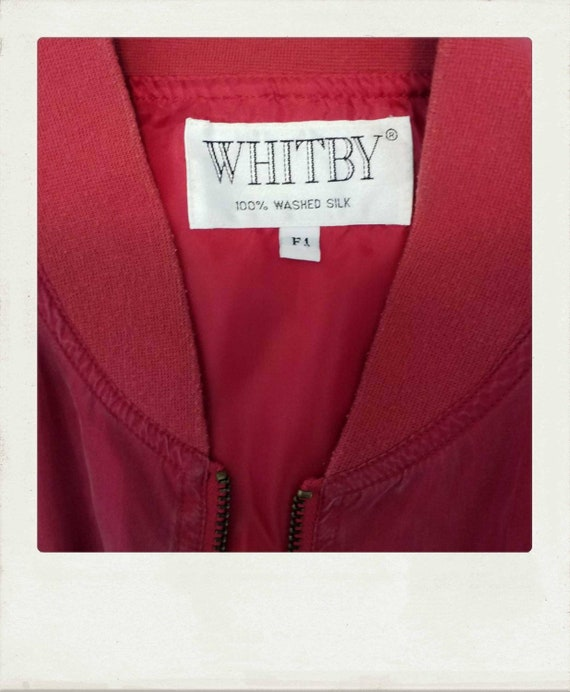 Vintage 90s Washed Silk Red Bomber Jacket / Clubk… - image 4