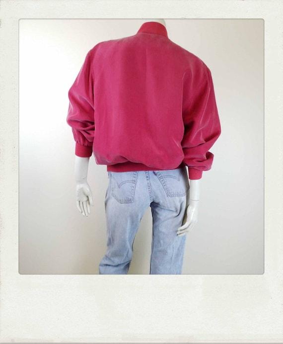 Vintage 90s Washed Silk Red Bomber Jacket / Clubk… - image 3