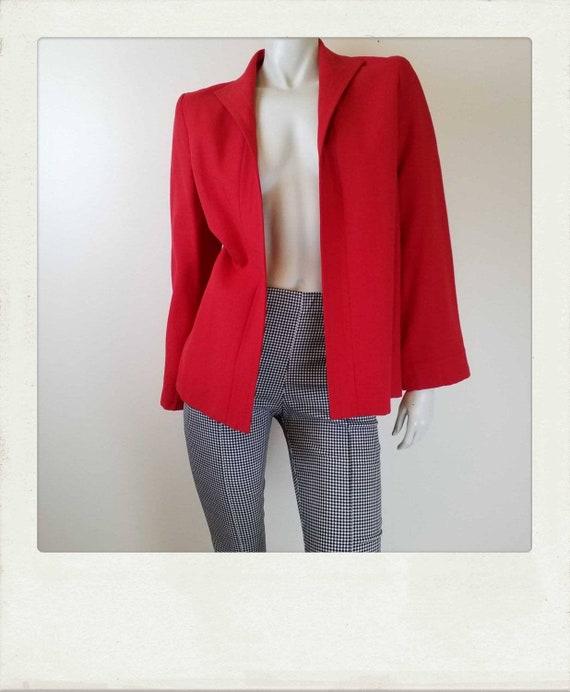 Vintage 80s Red Jacket / Swing Jacket / Coat /  Bl