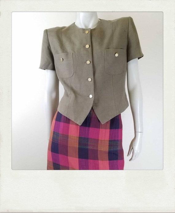 Vintage 80s Khaki Linen Cropped Blazer / Short Sle