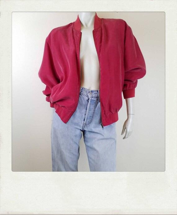 Vintage 90s Washed Silk Red Bomber Jacket / Clubk… - image 1