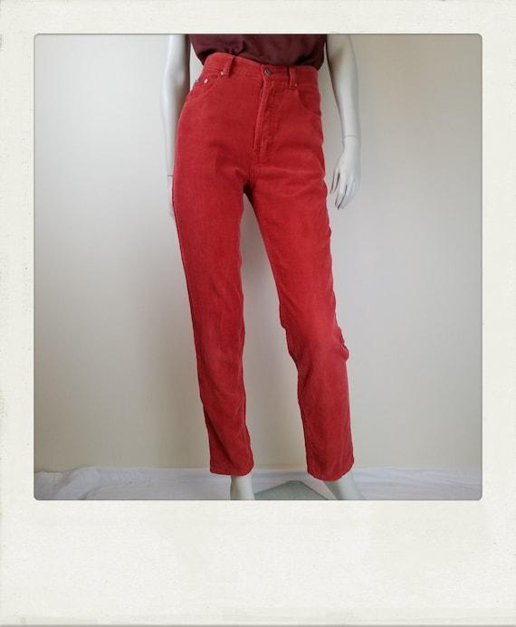 Vintage SPORTSGIRL Burnt Orange Corduroy Mom Jeans   Etsy