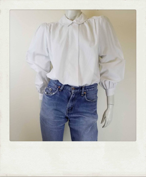Vintage 80s White Blouse / Mutton Chop Sleeves / P