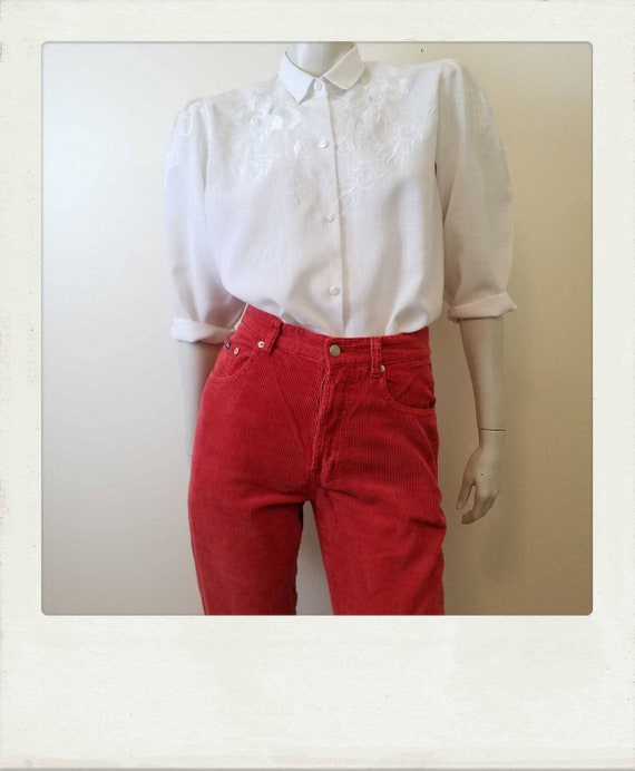 Vintage 80s White Embroidered Blouse with Mutton C