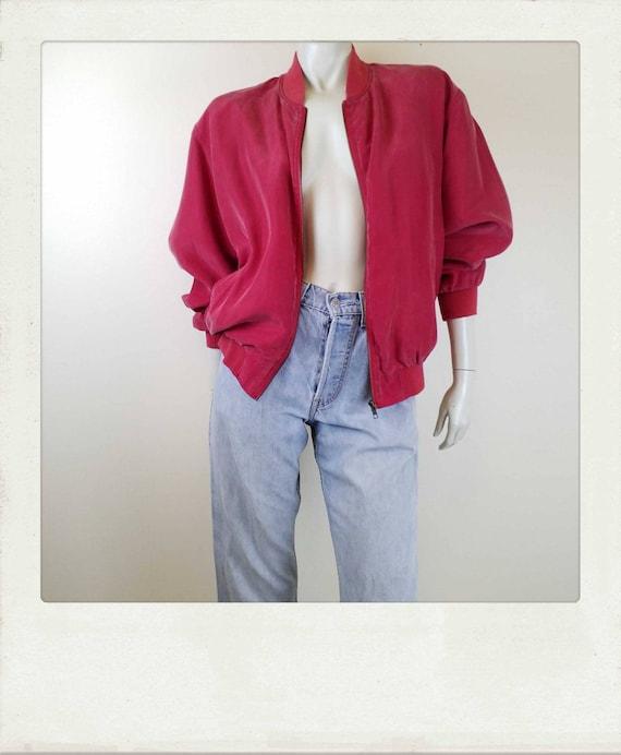 Vintage 90s Washed Silk Red Bomber Jacket / Clubk… - image 2