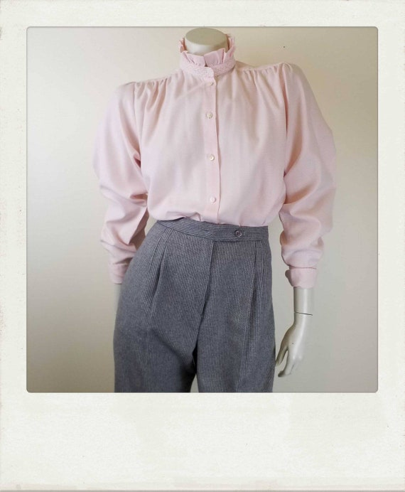 Vintage 80s /Pink Check /High Neck /Puffed Poet Sl