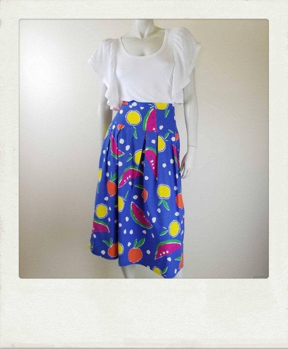 Vintage 80s /Colourful /Fruit Print /Pleated /Cott