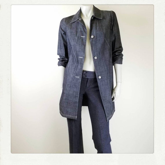 Vintage 90s Denim Duster / Denim Trench Coat / Den