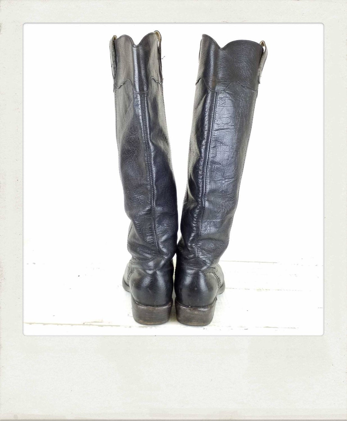 Vintage FRYE Womans Black Leather Pull On Riding Boots / Western Boots / Size 8.5 US