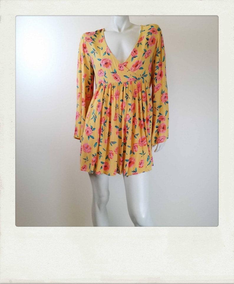 Vintage 90s Floral Mini Dress Bell Sleeves  Summer Dress Size 14AU