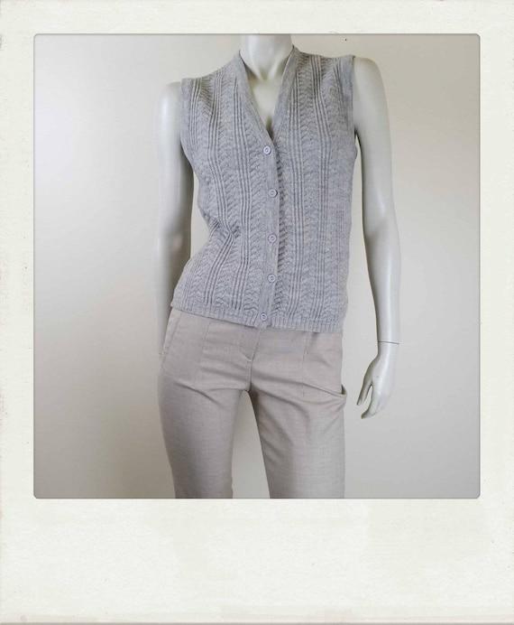 Vintage Wool Cable Knit Vest / Size 10AU
