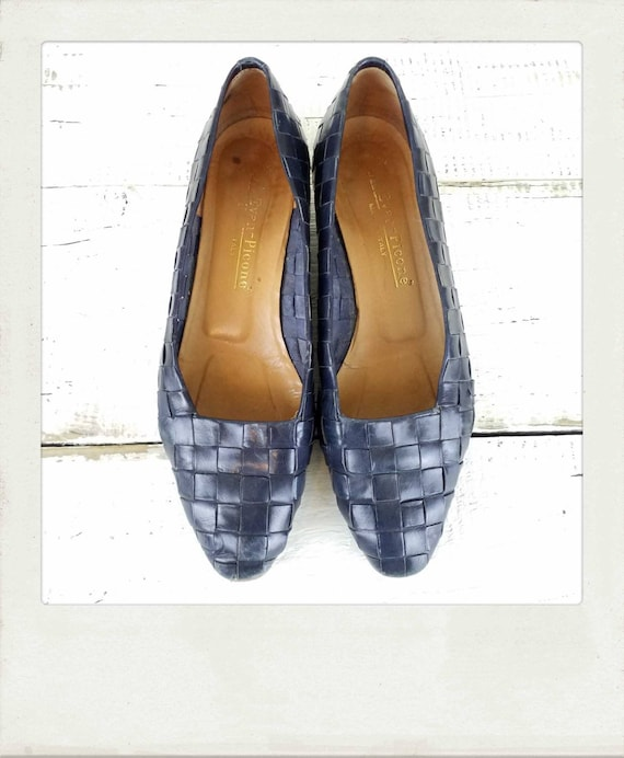 Vintage 80s Italian Navy Leather Woven Wedge Heel
