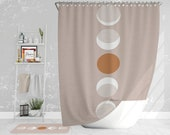 Moon phases on pink fabric texture shower curtain - Bathroom art - Bohemian, Minimalist - Home decor - Bathroom set -Wedding gift for couple